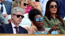 Floella Benjamin and Keith Taylor in the royal box on centre court.