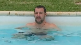 Italy's Matteo Salvini dives into fight against organised crime with dip in pool seized from mob boss