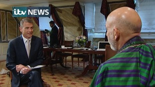 Bill Neely with Hamid Karzai in a joint interview with the Guardian