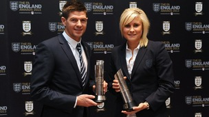 England's Steven Gerrard (left) and Stephanie Houghton with their respective Senior Men's and Women's Player of the Year Awards.