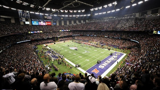 Fans await the start of the NFL Super Bowl XLVII game between the San Francisco 49ers and Baltimore Ravens in New Orleans, Louisiana.