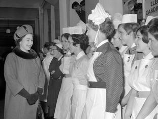 The Queen met NHS nurses at St Thomas' Hospital in 1968.