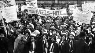 In 1962, NHS nurses protested about pay rates.