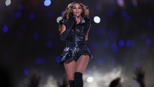 Beyonce performs during the half-time Super Bowl show in New Orleans.