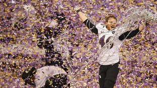 Baltimore Ravens long snapper Morgan Cox celebrates celebrates victory over the San Francisco 49ers.