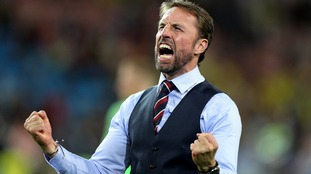 Gareth Southgate celebrating England's win on Tuesday
