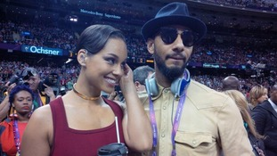 Alicia Keys with her husband Swizz Beatz, ahead of her Super Bowl performance of the National Anthem.