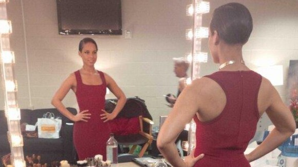 Alica Keys tweeted this dressing room picture ahead of her performance, which was broadcast to more than 150 million people. 