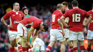 Wales looking dejected after defeat to Ireland