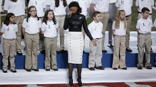 "Singer Jennifer Hudson performs ""America the Beautiful"" with The Sandy Hook Elementary School Choir."