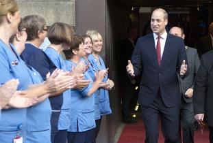 The Duke of Cambridge is cheered by the NHS Forth Valley Nurses Choir