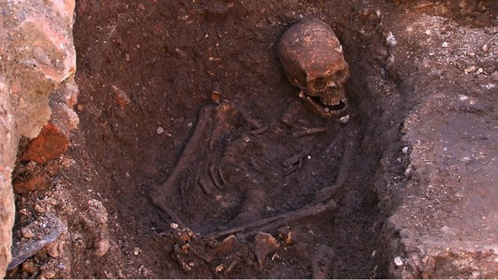 The remains of Richard III, uncovered in a council car park in Leicester.