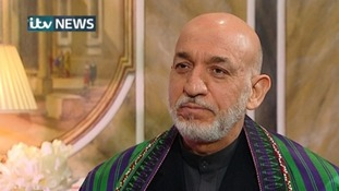 Hamid Karzai speaking to ITV News in a joint interview with The Guardian