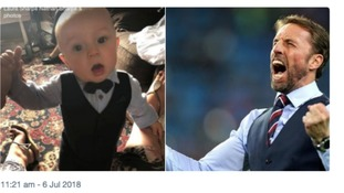 Finley, 7 months, joins Gareth Southgate in waistcoat celebrations