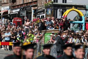Well-wishers packed the Royal Mile to get a glimpse of the royal party