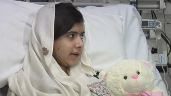 Malala Yousafzai pictured in hospital