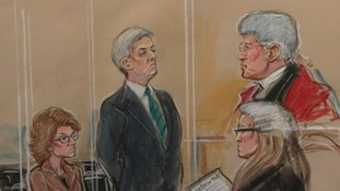 A court sketch of Vicky Pryce, Chris Huhne and the Honourable Justice Nigel Sweeney at Southwark Crown Court