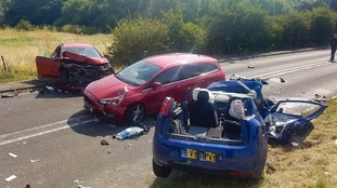 Three cars have crashed in Watton, Hertfordshire