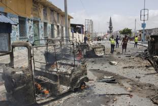 Destruction caused by the blast in Mogadishu