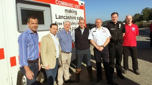 MPs Chris Green, Lindsay Hoyle and Jake Berry meet firefighters at Winter Hill