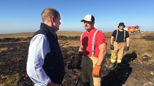Jake Berry gets a first hand account of the battle to extinguish the blaze
