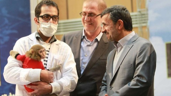 Mahmoud Ahmadinejad, right, pictured at an exhibition to celebrate Iran's space programme