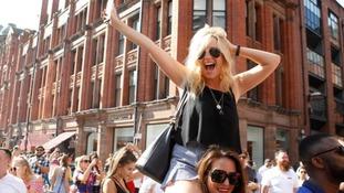 fans celebrating in Manchester