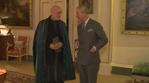 Afghan President Hamid Karzai and Prince Charles pictured today.