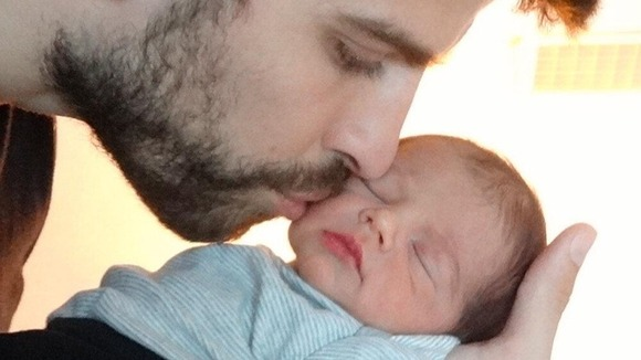 Shakira's recently-born baby Milan with his father Gerard Pique.