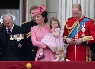 The Duke of Edinburgh, The Duchess of Cambridge holding Princess Charlotte, Prince George and The Duke of Cambridge on the balcony of Buckingham Palace