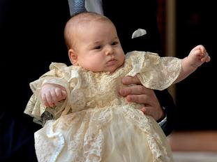 Prince George wearing the royal christening gown