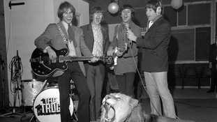 The Troggs pictured during a recording session (Reg Presley is seen on the far right)