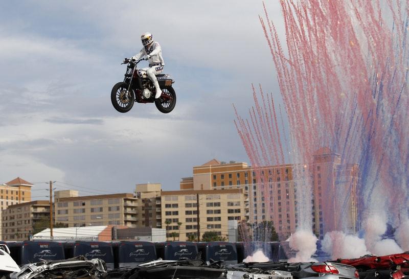 Evel Knievel Motorcycle Daredevil Jumper On His Harley: Daredevil Travis Pastrana Replicates Evel Knievel's