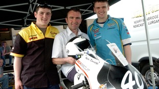 William Dunlop (right) with his brother Michael and dad Robert