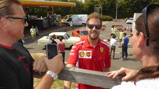 Vettel chatted to fans as the filming went on