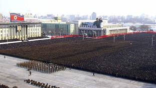 An overhead view of North Koreans attending the memorial for the late leader Kim Jong-il