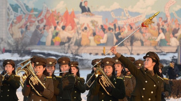 North Korean military band celebrates their country's rocket launch in December 2012.