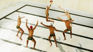 The Australian Mens Olympic Waterpolo Team are photographed in an empty Bondi Icebergs pool at Bondi Beach on May 31.