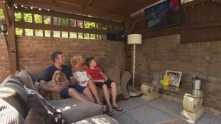 Cwmbran family moves living room outside to combat heat