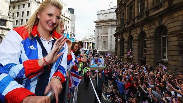 Rebecca Adlington at the London 2012 Victory Parade for Team GB and Paralympics GB athletes through central London