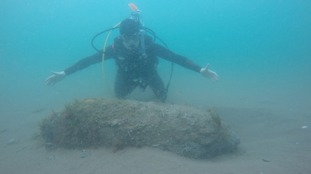 Scuba Diver Chris Cunningham found the bomb near the Teignmouth coast.