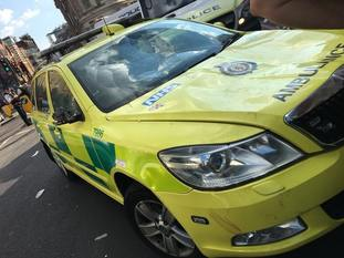 Am emergency response vehicle damaged by celebrating England fans in London
