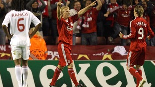 Dirk Kuyt (centre) scored in Liverpool's 1-0 win over Debrecen in 2009