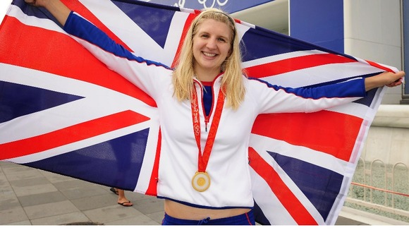 Rebecca Adlington with the gold medal she won in the women's 400m freestyle at the 2008 Beijing Olympic Games