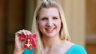 Rebecca Adlington with the OBE she received in 2009