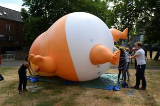 The blimp will fly for two hours on Friday morning in London as Donald Trump visits the UK (Kirsty O'Connor/PA)