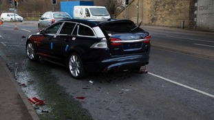 Car damaged in crash