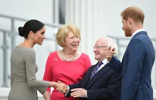 Harry and Meghan with President Michael D Higgins and his wife Sabina