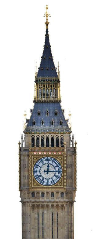 New Big Ben with blue numbers and St George's Cross