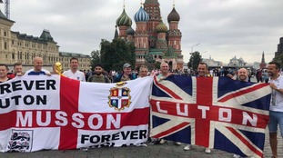 Luton Town fans ready for the game in Moscow